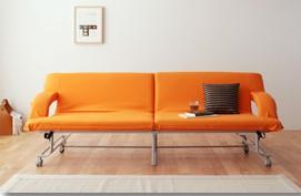 ソファベッド 折りたたみタイプ オレンジ