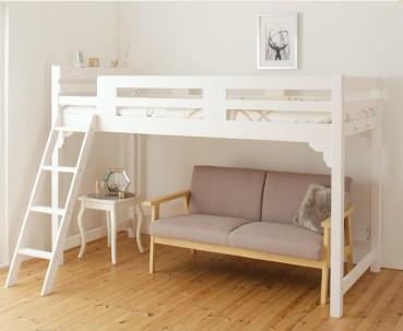 ロフトベッド 木製 ホワイト
